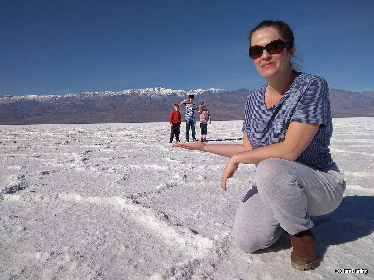 Perspective on the Salt Flats, Badwater Basin, Death Valley, CA